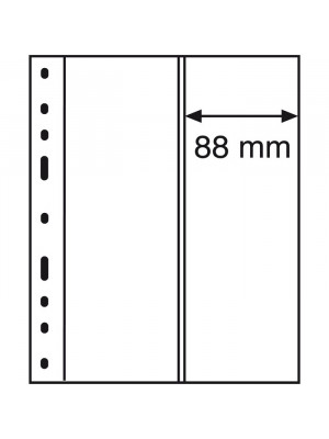 OPTIMA plastic pockets 2-way division, vertical, clear, 302388