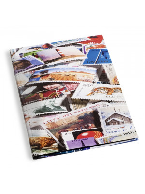 STAMPS4/8 Stock Book with stamps motif, 16 black pages, 328485