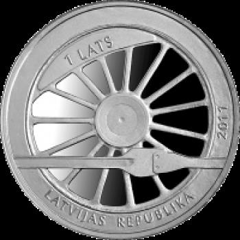 """Sudraba monēta """"Dzelzceļš Latvijā 1860"""""""