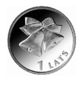 """Jubilejas monēta """"Ziemassvētku zvaniņi"""", 1 Lats."""