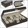Mākslīgās ādas kaste pulksteņu kolekcionēšanai, melna