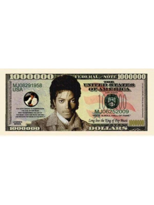 """Miljons dolāru banknote """"Maikls Džeksons"""""""