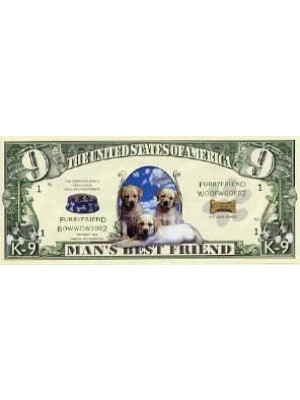 """Jaunā dolāru banknote """"K-9"""" ar suņiem"""