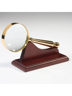 Gold-plated magnifier with wooden support, magnification 4x 332680