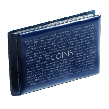 Blue pocket coin wallet with 8 coin sheets, 314775