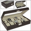 Brown imitation leather box for 12 watches, 73630