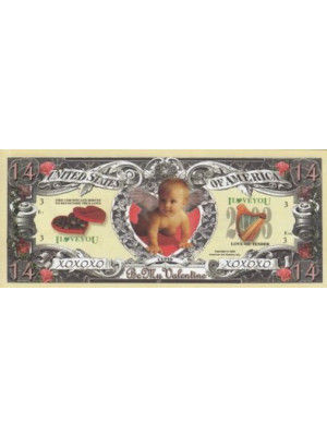 "Valentines Day dollar banknote ""HAPPY VALENTINE'S DAY"""