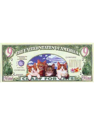 "Original Dollar banknote with cats ""CRAZY FOR CATS"""