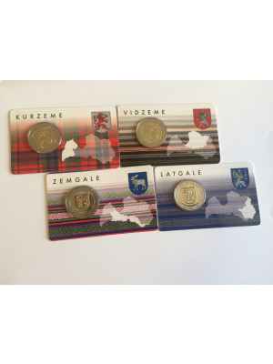 2 Euro Coin Gift Cards - Latvian four counties